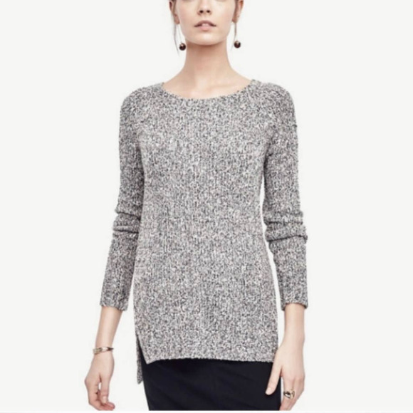 Ann Taylor Heather Gray Marled Ribbed Sweater XS